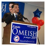 Esam Omeish speaking at his campaign kickoff party.
